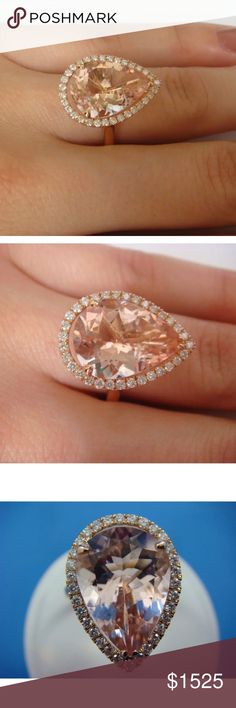 Amazing 7.5 carat 14k diamond and morganite ring Amazing 7.5 carat 14k rose gold diamond and morganite ring! High quality! Comes with appraisal! Over $3000!!!! Jewelry Rings