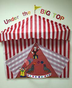 Circus theme bulletin board Preschool Circus, Preschool Door, Circus Crafts, Preschool Curriculum, Kindergarten, Circus Theme Classroom, New Classroom, Classroom Displays, Classroom Decor