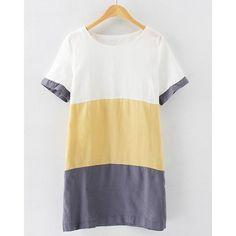 Casual Style Scoop Collar Short Sleeve Color Block Women's Dress, YELLOW, M in Dresses 2014 | DressLily.com