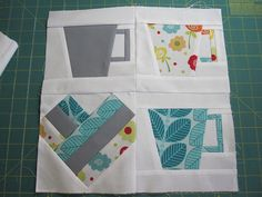 Heart and coffee quilt block. Instead of quilt, make scrapbook page or something. 2/8/12 db