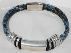 Blue Faux Snakeskin Bracelet by LoneMountainDesigns on Etsy, $49.95