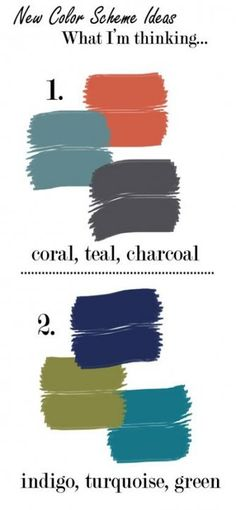 Same color scheme I was thinking about, courtesy of belle maison: Current Project: My Apartment Living Room Charcoal Living Rooms, Coral Living Rooms, Living Room Paint, Small Living Rooms, Blue And Orange Living Room, Living Room Green, Bedroom Green, My Living Room, Coral Bedroom