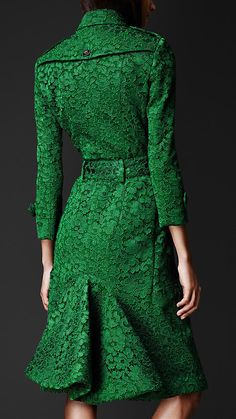 Kickback Trench Coat by Burberry. In textural emerald green lace.  LOVE THE COLOR!!!