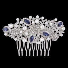 Wedding Bridal Bridesmaid Flower Pearl Hair Piece Comb Blue Austrian Crystal