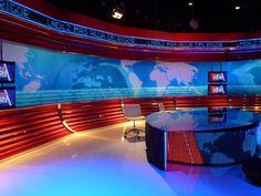 Las noticias de las dos   Metric3 Tv Sets, Studio, Blue, Design, Stressed Quotes, Temporary Architecture, News, Studios