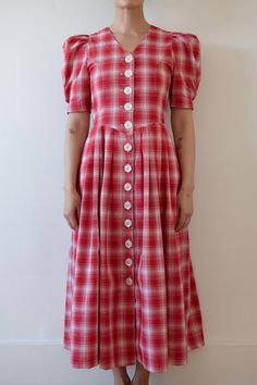 DRESSES   OLIVIA LATINOVICH Button Dress, Corset, Ready To Wear, Short Sleeve Dresses, Neckline, Plaid, Shirt Dress, Sleeves, Red