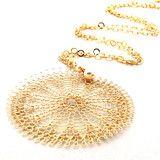 XL Sunflower pendant necklace , wire crocheted flower