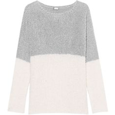 JUVIA Bubble Knit Cream Grey // Chunky knit sweater (880 PLN) ❤ liked on Polyvore featuring tops, sweaters, heavy knit sweater, grey knit sweater, knit sweater, gray sweaters and round neck sweater