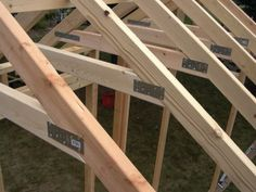 This is a continuation of the article series on the construction of my shed. Part 1 – Today we cut and attached all the rafters. Everything fit well and well fairly smoothly. Wood Storage Sheds, Wood Shed, Tyni House, Cheap Sheds, Shed Construction, Large Sheds, Shed Kits, Roof Trusses, Shed Roof