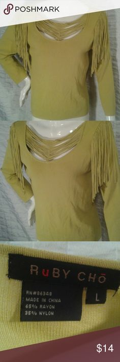 Fringe long sleeve top Fringe is always fun! This top is a green/yellow shade, nylon rayon blend.  Soft and a little different! Ruby Cho  Tops