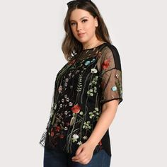 e6893b5a9 SHEIN Black Plus Size Blouse Fashion Embroidered Transparent Sexy Mesh  Female Blouse Spring Autumn Short Sleeve Tops Blouse