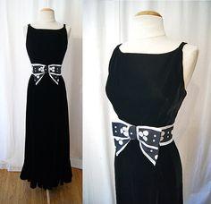 Designer 1970's black velvet floor length evening by wearitagain, $248.00