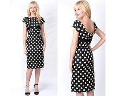Vintage 50s Harvey Berin Silk Polka Dot Cocktail Party Dress