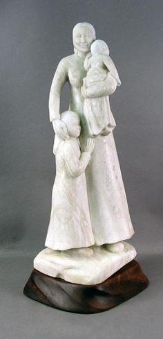 """Mama"" by Kathy (Elk Woman) Whitman, Colorado Alabaster, Hand Carved Wood Base - Cherry or Walnut, Tribe: Arikara, Mandan  Hidatsa / Wright's Indian Art"
