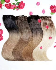 Our Ombré Squad all rosed up🌹🌹🌹 4 shades to choose from! Visit our website for more deets✌️ Link in bio👆👆 Hair Extensions, Squad, Shades, Website, Link, Beauty, Weave Hair Extensions, Extensions Hair, Sunnies