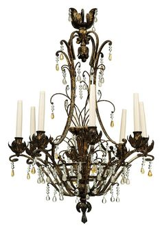 A FRENCH WROUGHT-IRON AND CUT-GLASS EIGHT-LIGHT CHANDELIER PROBABLY BAGUES, EARLY 20TH CENTURY