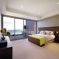 Master bedroom in this penthouse overlooking Hobson's Bay in Melbourne, Australia. Credit to agents: Kayne Lanyon and Sarah Wood of Marshall White.