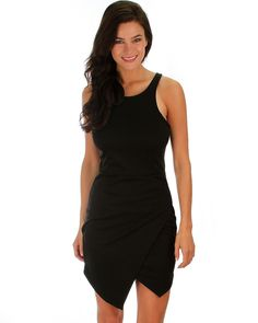 Bodycon Dress w/ Overlapping Bodice and Zippered Back