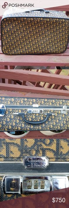 "Christian Dior Vintage Luggage Vintage item from the 1970s  Materials: leather, canvas  •Christian Dior logo silk satin lining and a single top handle. •Buckle is missing on 1 side - still very functional  Measurements:  Width: 21""/53.5cm Height: 13.5""""/34.5cm Depth: 7""/18cm Handle drop: 2""/5cm Dior Bags Travel Bags"