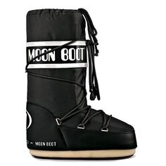 Classic Moon Boot Black - the original in NASA-inspired footwear, modeled after flight gear worn by those first style mavens on the moon. The thick rubber soles provide traction for treading on thin ice and snow, and the well-insulated inners keeps your footsies warm and dry.