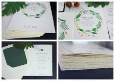 Hochzeitspapeterie gedruckt auf feinstem Büttenpapier mit kleiner Blindprägung.