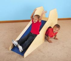 """Toddler Slide with Crawl-Thru Tunnel (DIY?) Durable birch plywood construction; polyethylene plastic slide. Fully assembled. 5'L x 16-1/2""""W x 2'5""""H; (Cost: 389 dollars) Age Range: Ages 1-3"""