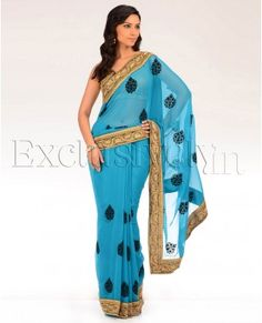 Atol Blue Sari with Golden Floral Border - Exclusively In