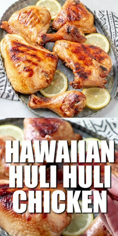 Jun 2019 - An authentic Hawaiian Huli Huli Chicken recipe that is marinated in a delicious soy sauce marinade with fresh ginger and garlic then grilled! Heart Healthy Chicken Recipes, Grilled Chicken Recipes, Chicken Appetizers, Seafood Appetizers, Turkey Recipes, Dinner Recipes, Grilling Recipes, Cooking Recipes, Cooking Time