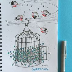 Monila Handmade,illustrazione,illustration,birdcage,Doodle ,i ghirigori di Monila