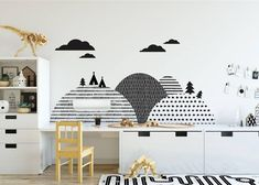 child room Let's create a very special scenery behind your little one's bed by adding this beautiful wall sticker with simple and modern patterns. The monochrome Scandinavian hills will loo Playroom Decor, Kids Decor, Bedroom Decor, Home Decor, Decor Ideas, Wall Decor, Kids Wall Decals, Nursery Wall Decals, Sticker Mural