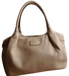 Kate Spade Berkshire Road Stevie Au Lait Leather Beige Satchel.