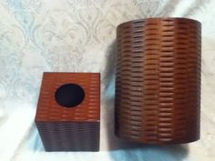VINTAGE TIKI Tissue Kleenex Wood Panel Bed Bath Office Trash Waste Basket Weave #Unbranded