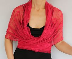 Red Tulle Wrap Shrug Shawl Bolero Bridesmaids Plus by mammamiaeme