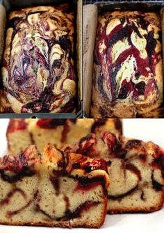 Double Berry Swirl Greek Yogurt Cake - Incredibly moist, with ribbons of blackberry and raspberry puree.