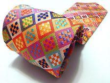 Duchamp Rare Vibrant Geometric Colorful BRIGHT 100% Silk Tie Multi-colors Vivid