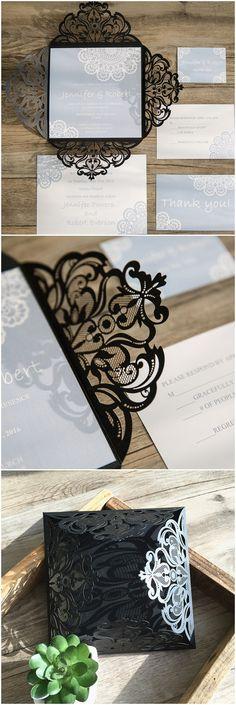 vintage light blue and black laser cut wedding invitations