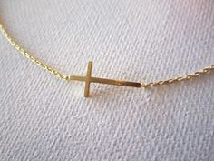 Tiny gold sideways cross necklace..simple by blueJboutique7, $16.00