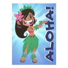 Hula Girl & Cocktail Luau Birthday Party Announcement