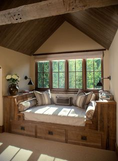 Such a cosy rustic reading nook!