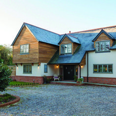 Barn style house with timber cladding and white render. Building a house. House design ideas by Potton Homes, Self-Build Specialists. Exterior Remodel, Interior Exterior, Exterior Design, Exterior Rendering, Country House Design, Modern House Design, House Cladding, Timber Cladding, Wooden Cladding Exterior