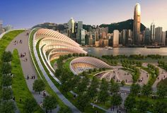 A steep artificial hill is integrated into a design for a train station in Hong Kong. by frieda