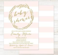 pink gold baby girl shower invitation baby by pinkdahliaprintable