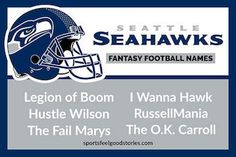 Seattle Seahawks Fantasy Football Names — And All the Other NFL Teams. Football Team Names, 32 Nfl Teams, Football Helmets, Football Humor, Soccer Humor, Cool Fantasy Football Names, Fantasy Football Logos, Seahawks Team, Seattle Seahawks