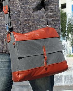 Laptop Messenger Bag, Leather and Waxed Cotton Canvas, Backpack for Men, Women - READY TO SHIP