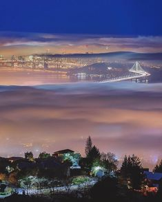Gorgeous view of the San Francisco Bay Bridge at night.