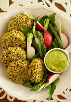Quinoa and Mung Bean Patties [Burgers] with Fruity Avocado Dip