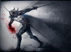 Dark Knight by *sakimichan on deviantART. Reminds me of Alatorn.