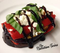 Balsamic Drizzled Roasted Red Pepper & Eggplant with Feta | Only 60 Calories | Scrumptious Appetizer or Side #vegetarian | For MORE RECIPES please SIGN UP for our FREE NEWSLETTER NutritionTwins.com