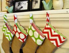 Christmas Stocking Set of 2 Burlap Red and Green Zig Zag Chevron and Polka Dot on Etsy, $50.00