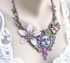 Lace Necklace Pink and Green Lace Assemblage by LaVieilleLune, $68.00